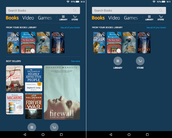 a side by side of the amazon fire books home screen with and without recommendations