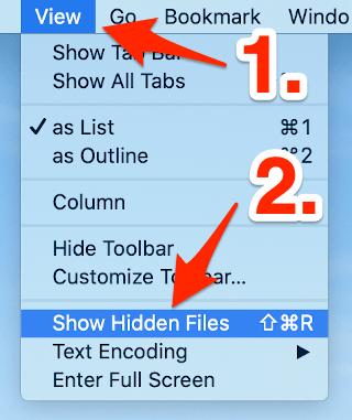 the show hidden files Cyberduck menu item