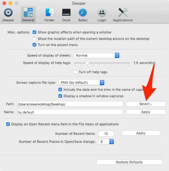 change the default screenshot save location in macOS with Deeper