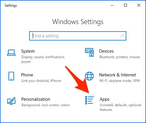 the Windows 10 Settings Panel
