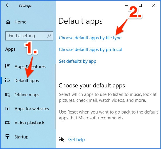 the Apps Settings with arrows pointing to Default apps and Choose default apps by file type