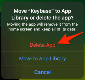 an arrow pointing to the Delete Apps button for an iPhone App