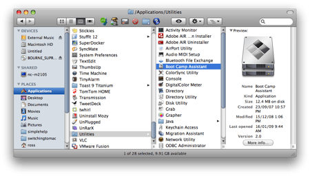 a Finder window with the Utilities folder displayed