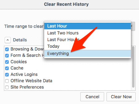 how to delete items from history in firefox