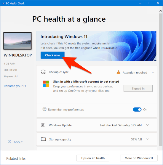 the Windows PC Health Check app with an arrow pointing at the Check now button