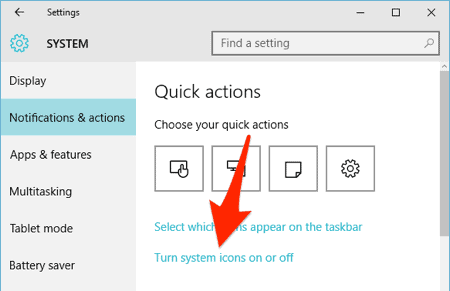 The Notifications and Actions section of the Windows 10 Settings