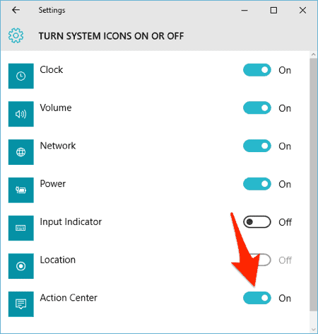 the Turn System Icons on Or Off settings in Windows 10
