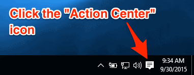 The Windows 10 Action Center icon