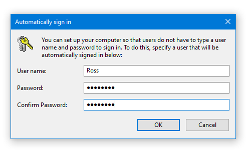 the user name and password dialogue box in windows 10