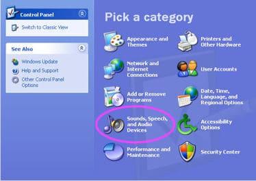 the Windows XP Control Panel