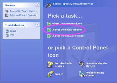 the Windows XP Sounds section of the Control Panel