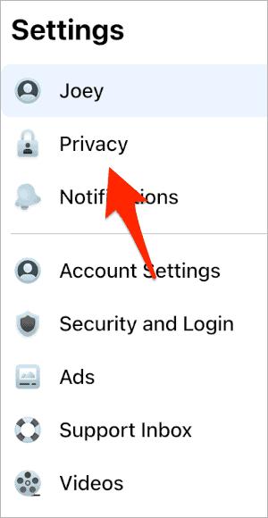 the Privacy menu