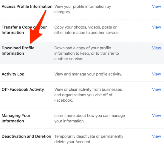 an arrow pointing to a link titled Download Profile Information