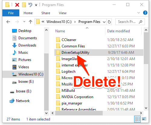screenshot of a file explorer with the DriverSetupUtility folder selected