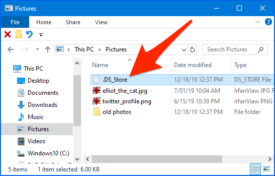 windows explorer with an arrow pointing to a .ds_store file