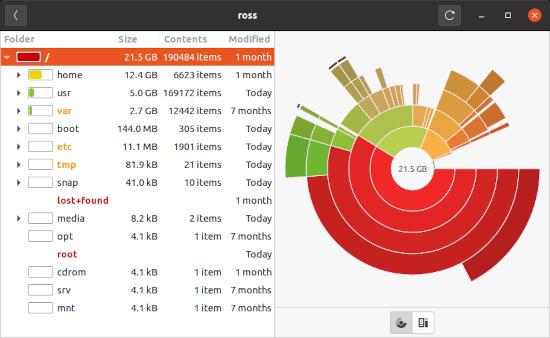 the Disk Usage Analyzer for Ubuntu