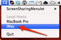 screen sharing menulet