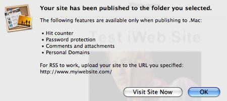 iweb confirming a successful local publish