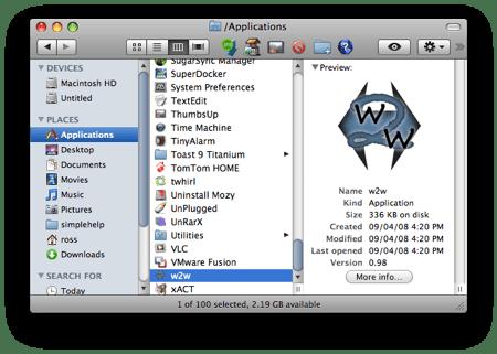 w2w in the applications folder