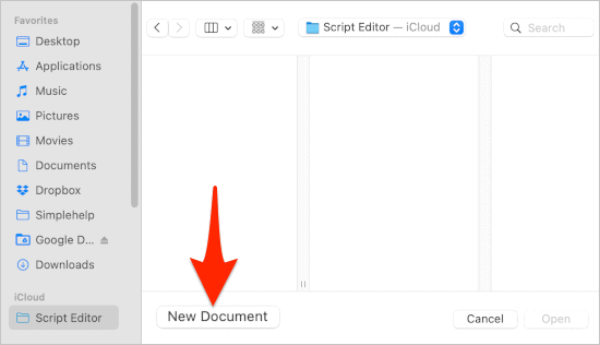 an open file dialog box in macOS