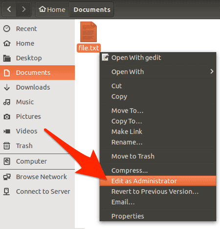 Edit as Administrator highlighted in the right-click menu of the Ubuntu File Manager