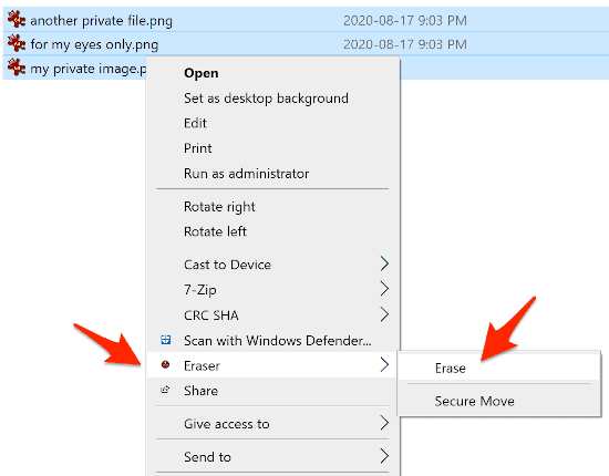 right-click on 3 image files in Windows with an arrow pointing to the Eraser object in the context menu