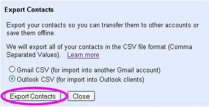 export your gmail contacts