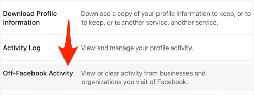 an arrow pointing to a link titled Off-Facebook Activity