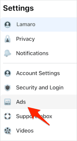 an arrow pointing to Settings in the Ads section of the Facebook Settings