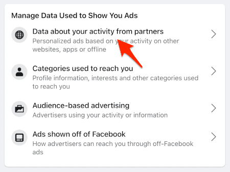 a link titled Data about your activity from partners