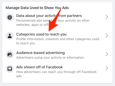 an arrow pointing to a link titled Categories used to reach you
