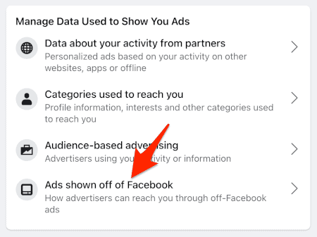 a link titled Ads shown off of Facebook