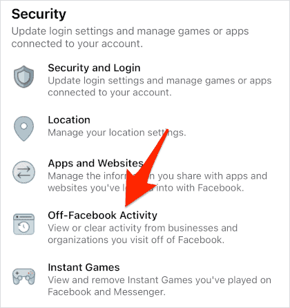 an Off-Facebook Activity link in the Facebook app for iOS
