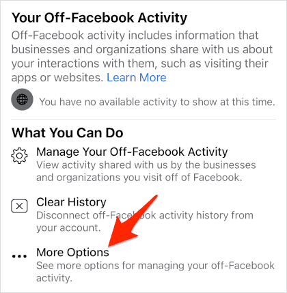 the What You Can Do section of the Facebook Off-Facebook Activity settings