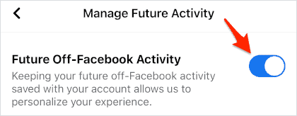 an ON/OFF switch for Facebook for iOS and Android turned ON