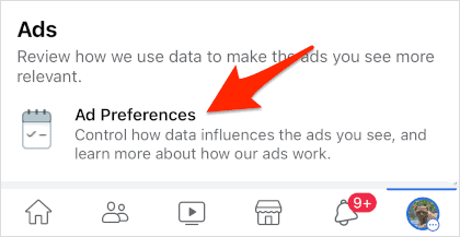 the Facebook Ad Preferences section of the mobile app
