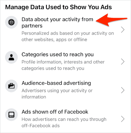 an arrow pointing to a link titled Data about your activity from partners