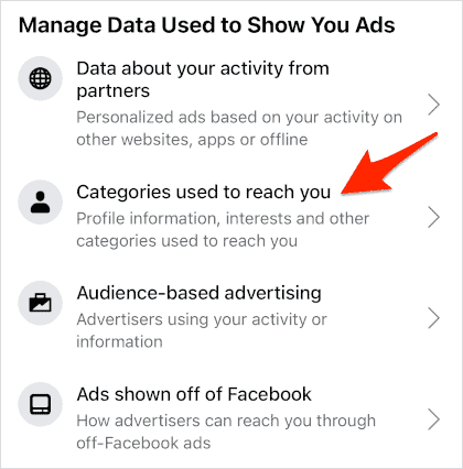 an arrow pointing at a link titled Categories used to reach you
