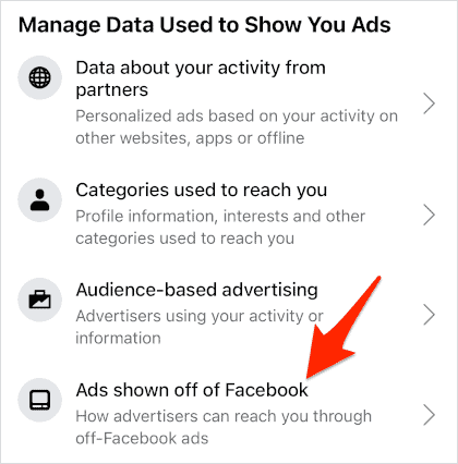an arrow pointing at an Ads shown off of Facebook link