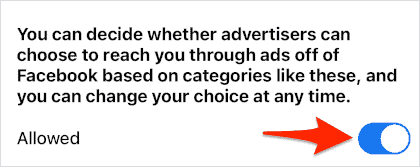 an ON/OFF switched for Allowed Ads set to ON
