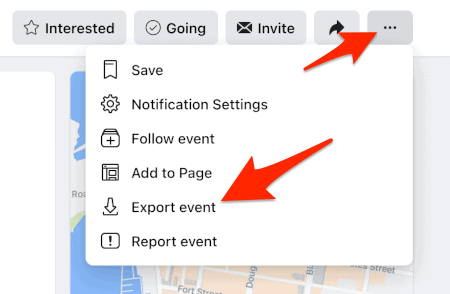an arrow pointing to the Facebook Events more button and another arrow pointing to Export event