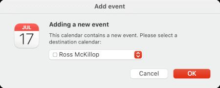 choosing a calendar to import a facebook event
