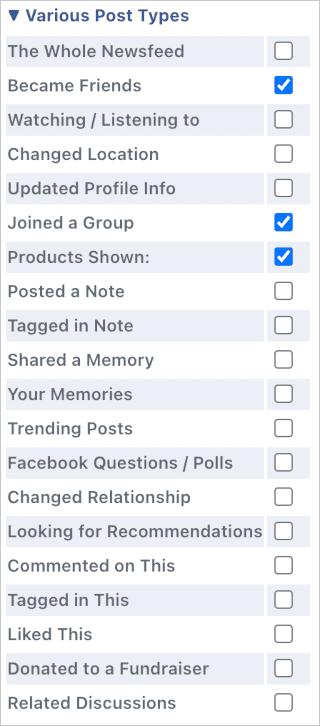 list of ways to hide certain Facebook elements