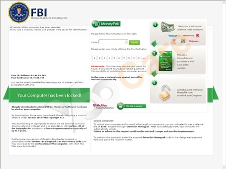 a fake fbi virus screenshot example