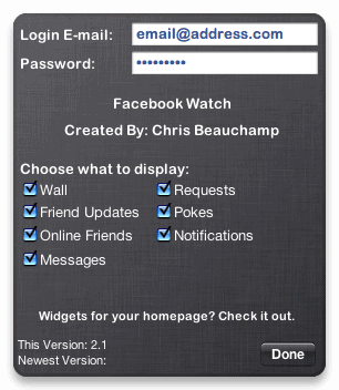 facebook watch widget