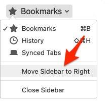 an arrow pointing to the text Move Sidebar to Right from the Firefox Sidebar context menu