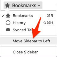 an arrow pointing to the text Move Sidebar to Left