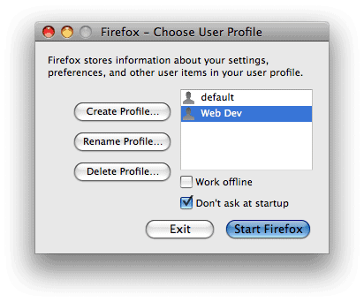 Now you'll have your old (default) profile, and your new profile,