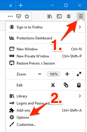 an arrow pointing at the Firefox menu button and Options link