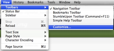 customize the firefox toolbar menu